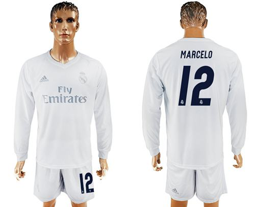 Real Madrid #12 Marcelo Marine Environmental Protection Home Long Sleeves Soccer Club Jersey