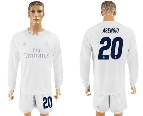 Real Madrid #20 Asensio Marine Environmental Protection Home Long Sleeves Soccer Club Jersey