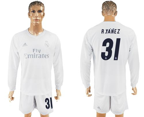 Real Madrid #31 R.Yanez Marine Environmental Protection Home Long Sleeves Soccer Club Jersey