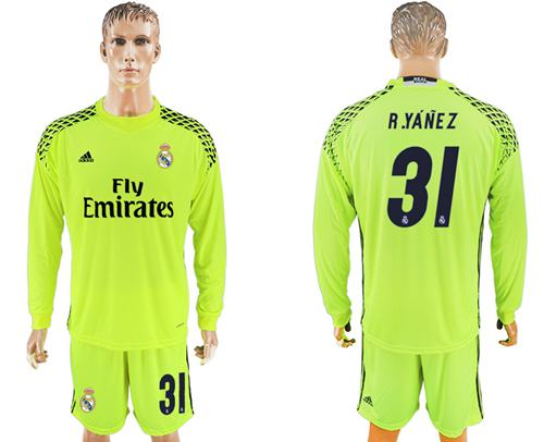 Real Madrid #31 R.Yanez Shiny Green Goalkeeper Long Sleeves Soccer Club Jersey