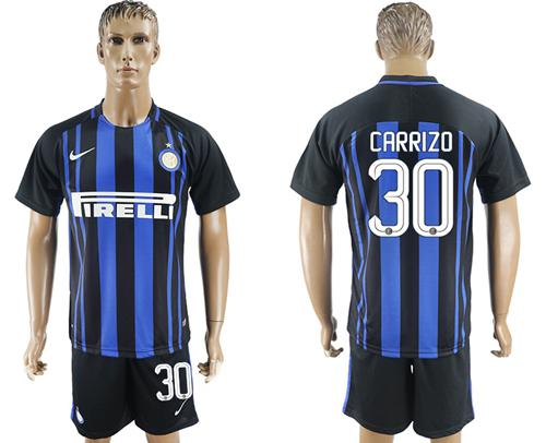 Inter Milan #30 Carrizo Home Soccer Club Jersey