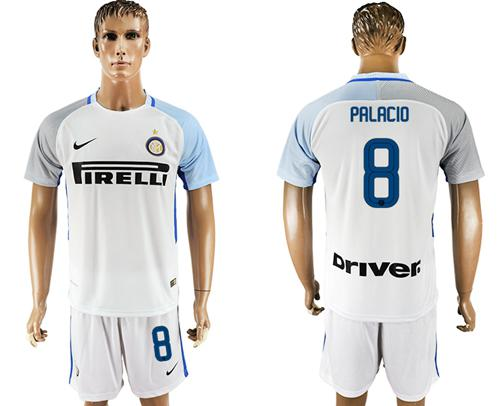Inter Milan #8 Palacio White Away Soccer Club Jersey