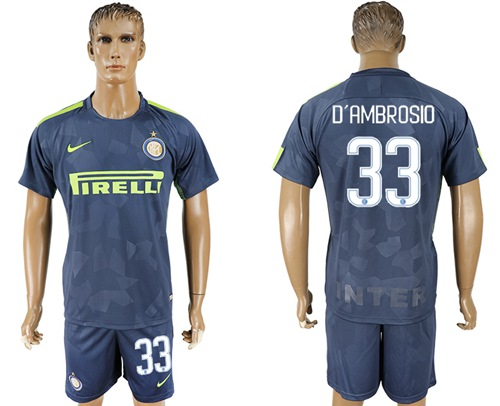Inter Milan #33 D'Ambrosio Sec Away Soccer Club Jersey