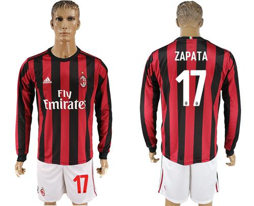 AC Milan #17 Zapata Home Long Sleeves Soccer Club Jersey