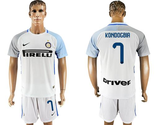 Inter Milan #7 Kondogbia White Away Soccer Club Jersey