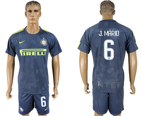 Inter Milan #6 J.Mario Sec Away Soccer Club Jersey