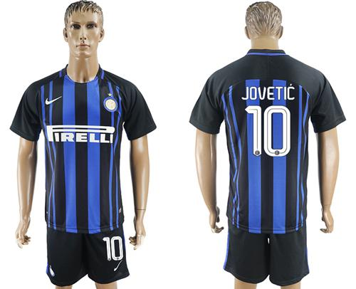 Inter Milan #10 Jovetic Home Soccer Club Jersey