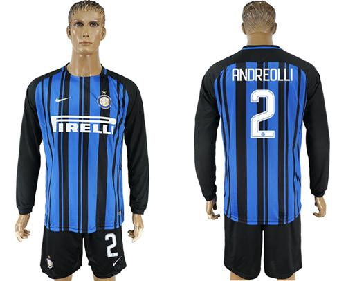 Inter Milan #2 Andreolli Home Long Sleeves Soccer Club Jersey