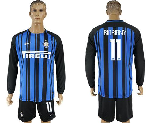 Inter Milan #11 Biabiany Home Long Sleeves Soccer Club Jersey