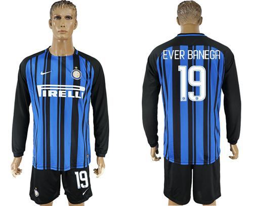 Inter Milan #19 Ever Banega Home Long Sleeves Soccer Club Jersey