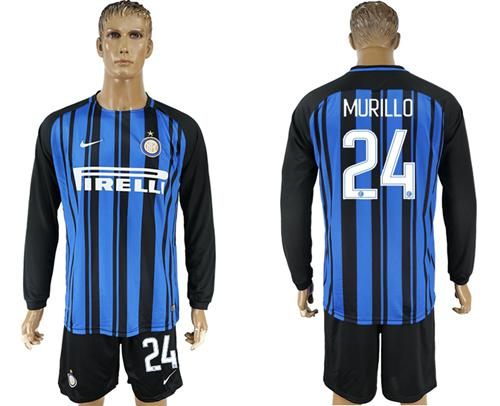 Inter Milan #24 Murillo Home Long Sleeves Soccer Club Jersey