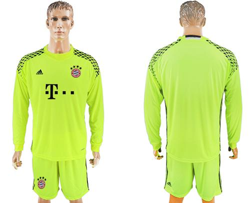 Bayern Munchen Blank Shiny Green Goalkeeper Long Sleeves Soccer Club Jersey