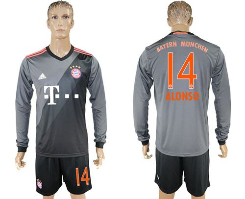 Bayern Munchen #14 Alonso Away Long Sleeves Soccer Club Jersey
