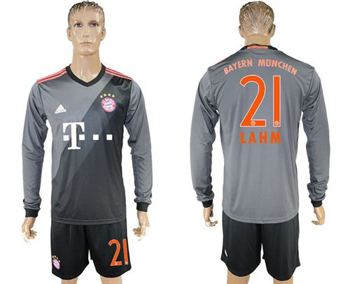 Bayern Munchen #21 Lahm Away Long Sleeves Soccer Club Jersey