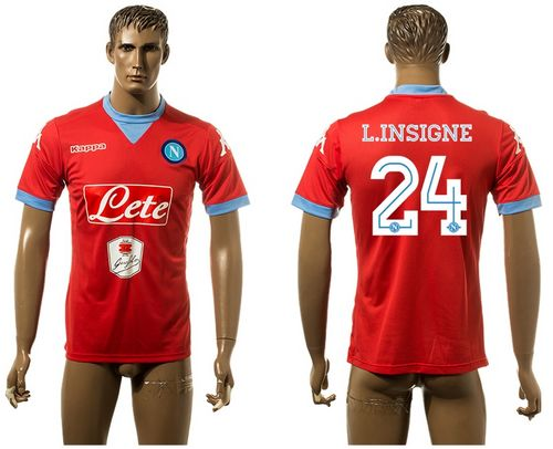 Naples #24 L.Insigne Red Away Soccer Club Jersey