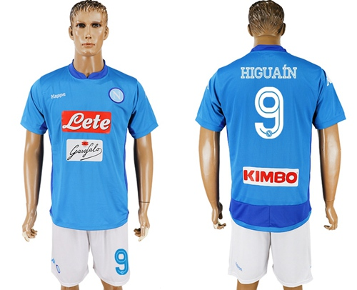 Naples #9 Higuain Blue Home Soccer Club Jersey