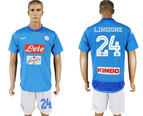 Naples #24 L.Insigne Blue Home Soccer Club Jersey