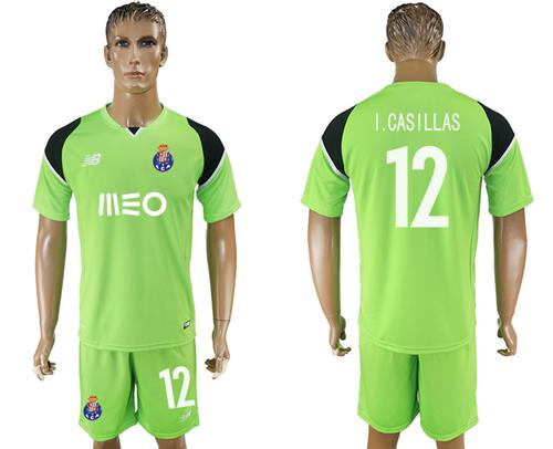 Oporto #12 I.Casillas Shiny Green Goalkeeper Soccer Club Jersey