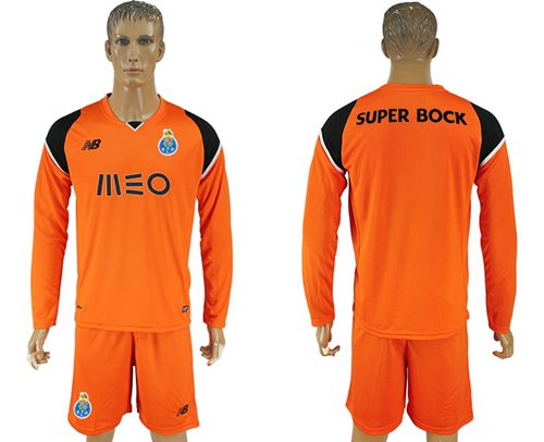 Oporto Blank Orange Goalkeeper Long Sleeves Soccer Club Jersey