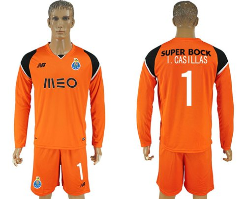 Oporto #1 I.Casillas Orange Goalkeeper Long Sleeves Soccer Club Jersey