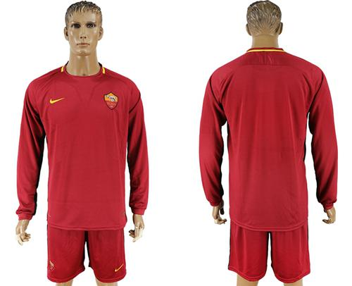 Roma Blank Home Long Sleeves Soccer Club Jersey