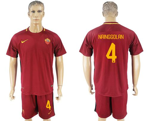 Roma #4 Nainggolan Red Home Soccer Club Jersey