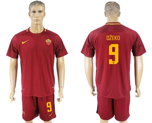Roma #9 Dzeko Red Home Soccer Club Jersey