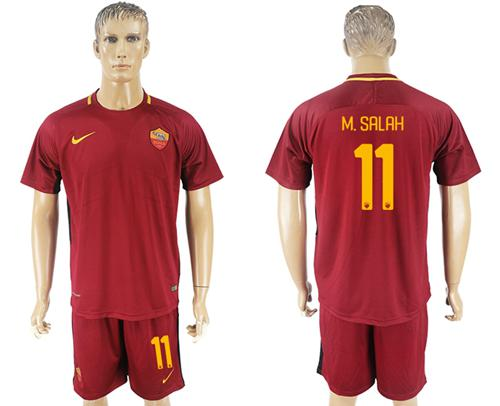 Roma #11 M.Salah Red Home Soccer Club Jersey