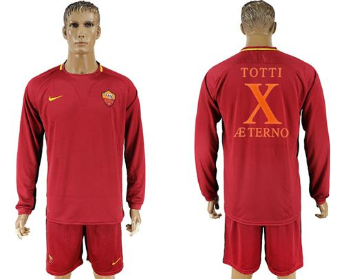 Roma #10 Totti Retire Long Sleeves Soccer Club Jersey