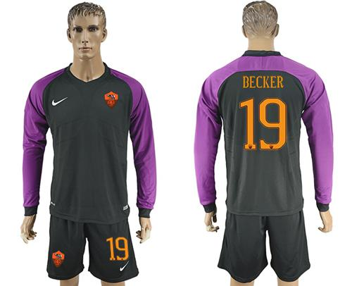 Roma #19 Becker Black Goalkeeper Long Sleeves Soccer Club Jersey
