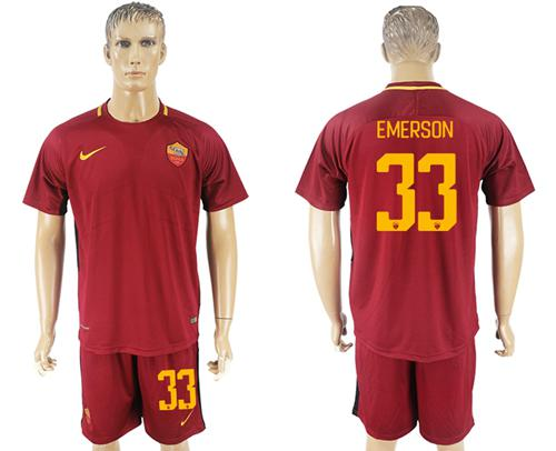 Roma #33 Emerson Red Home Soccer Club Jersey