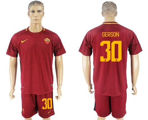 Roma #30 Gerson Red Home Soccer Club Jersey