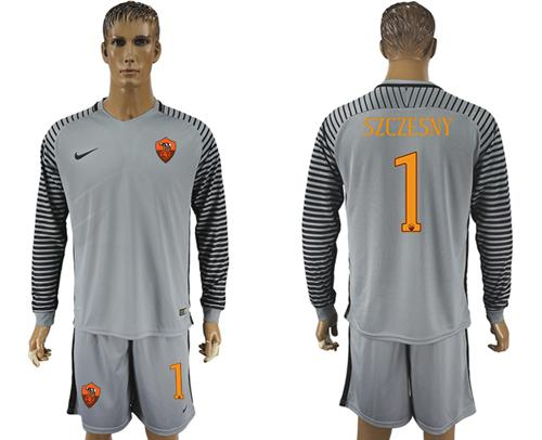 Roma #1 Szczesny Grey Goalkeeper Long Sleeves Soccer Club Jersey