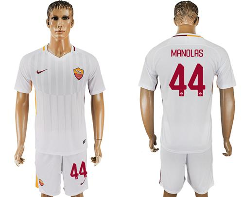 Roma #44 Manolas Away Soccer Club Jersey