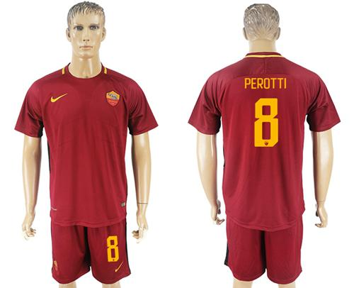 Roma #8 Perotti Red Home Soccer Club Jersey