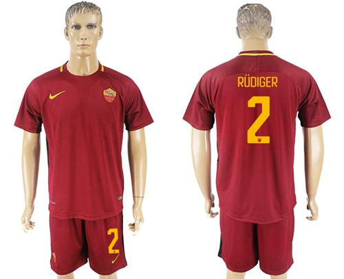 Roma #2 Rudiger Red Home Soccer Club Jersey