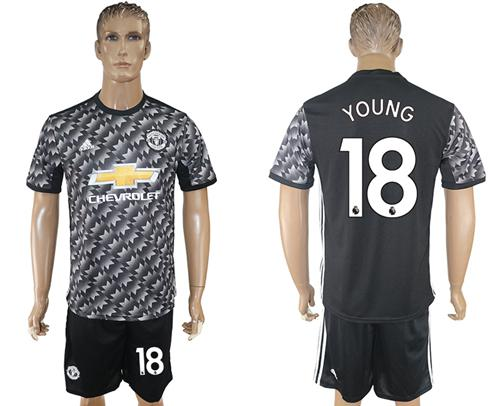 Manchester United #18 Young Black Soccer Club Jersey