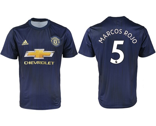 Manchester United #5 Marcos Rojo Away Soccer Club Jersey