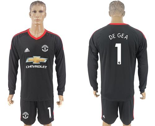 Manchester United #1 De Gea Black Goalkeeper Long Sleeves Soccer Club Jersey
