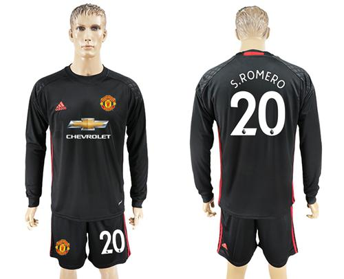 Manchester United #20 Sromero Black Goalkeeper Long Sleeves Soccer Club Jersey