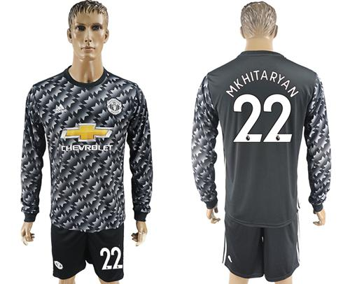 Manchester United #22 Mkhitaryan Black Long Sleeves Soccer Club Jersey