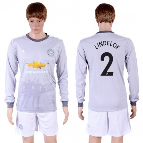 Manchester United #2 Lindelof Sec Away Long Sleeves Soccer Club Jersey