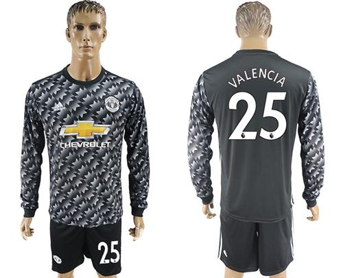 Manchester United #25 Valencia Black Long Sleeves Soccer Club Jersey