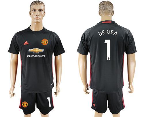 Manchester United #1 De Gea Black Goalkeeper Soccer Club Jersey