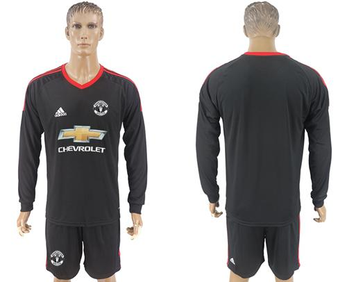 Manchester United Blank Black Goalkeeper Long Sleeves Soccer Club Jersey