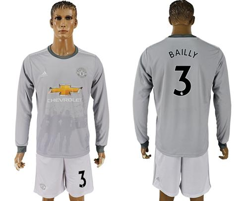 Manchester United #3 Bailly Sec Away Long Sleeves Soccer Club Jersey