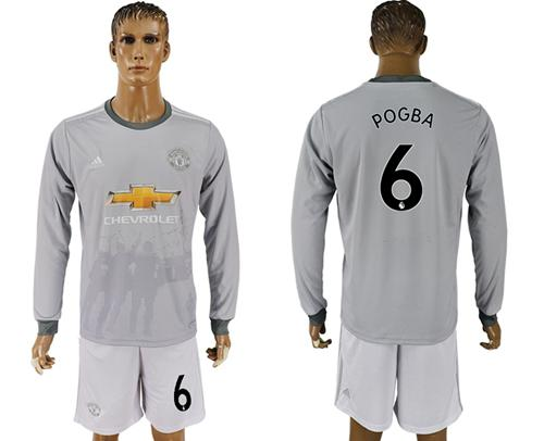 Manchester United #6 Pogba Sec Away Long Sleeves Soccer Club Jersey
