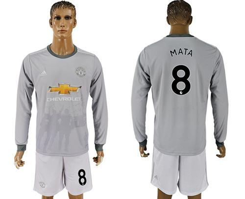 Manchester United #8 Mata Sec Away Long Sleeves Soccer Club Jersey