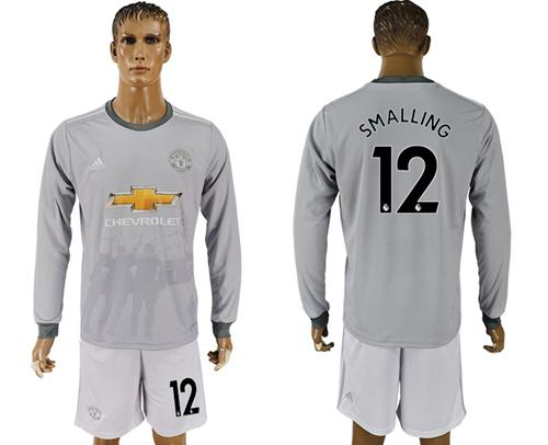 Manchester United #12 Smalling Sec Away Long Sleeves Soccer Club Jersey