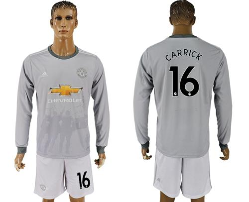 Manchester United #16 Carrick Sec Away Long Sleeves Soccer Club Jersey